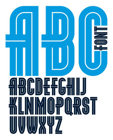 Set of vector bold capital alphabet letters made with white lines, can be used as business logo design elements 免版税图像