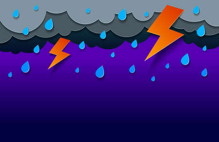 Thunderstorm with lightning and falling water drops vector modern style paper cut cartoon illustration. Illusztráció
