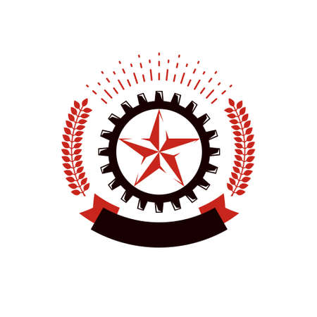 Vector star logo composed using laurel wreath and surrounded by industry gearwheel. Empire of evil, dictatorship and manipulation theme