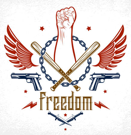 Revolution and Riot aggressive emblem or logo with strong clenched fist, weapons and different design elements , vector tattoo, anarchy and chaos, rebel partisan and revolutionary. Иллюстрация