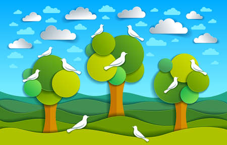 Three trees with birds in the field scenic nature landscape cartoon modern style paper cut vector illustration.