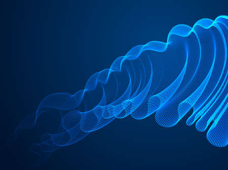Flowing magic particles wave over dark, transparent tulle textile on wind, dynamic motion curve lines. 3d vector illustration. Beautiful calming wave shaped array of blended points.