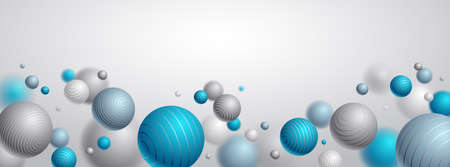 Abstract spheres vector background with blank copy space, composition of flying balls decorated with lines, 3D mixed realistic globes, realistic depth of field effect.