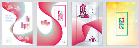 Birthday joyful and bright vector greeting card. Includes lettering composition and balloons combined with wavy fluid colorful shape abstract backgrounds collection. A4 format with CMYK colors acceptable for print.