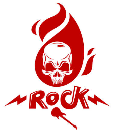 Skull in a flames Hard Rock music vector logo or emblem, aggressive skull dead head on fire Rock and Roll label, Punk festival concert or club, musical instruments shop or recording studio.