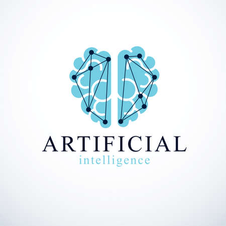 Artificial intelligence concept vector logo design. Human anatomical brain with electronics technology elements icon. Smart software, futuristic idea of intelligent machines and computer programs. Ilustrace