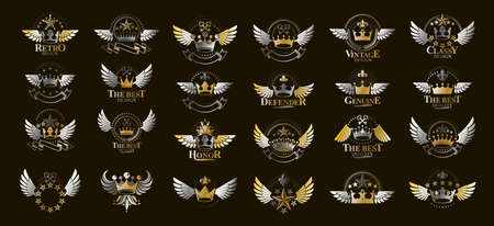 Heraldic Coat of Arms with crowns vector big set, vintage antique heraldic badges and awards collection, symbols in classic style design elements, family or business logos.
