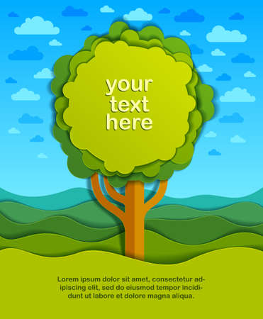 Tree with copy space for text in the field scenic nature landscape cartoon modern style paper cut vector illustration.