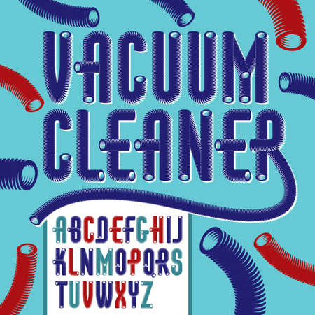 Set of condensed, tall trendy vector capital, upper case alphabet letters isolated. Funky font, typescript for use as business poster design elements. Created with hosepipe style, plumbing.