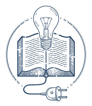 Open book with idea light bulb and cable plug vector linear icon, education and scientific literature library reading line art symbol or logo, electronic book e-book.