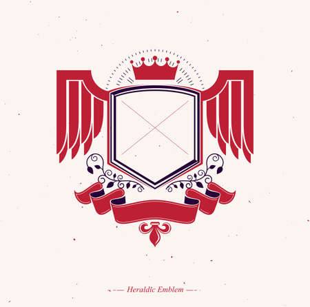 Graphic winged emblem composed with royal crown element and red ribbon.Heraldic Coat of Arms decorative logo isolated vector illustration. Illustration