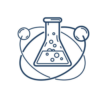 Chemical flask and atom vector simple linear icon, science chemistry line art symbol, laboratory research.