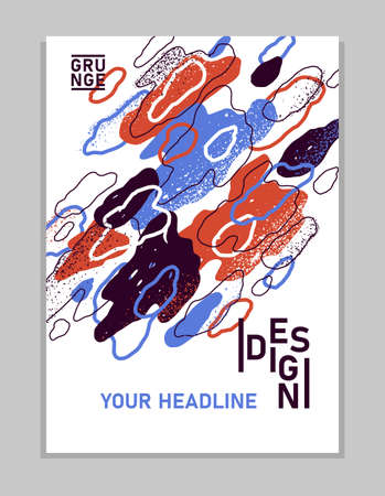 Artistic brochure vector abstract design with hand drawn elements, stylish colorful art abstraction cover for book magazine or flyer, leaflet or advertising poster template.