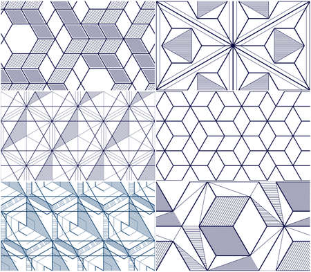 Geometric lines abstract seamless patterns set, 3d vector backgrounds cubes collection. Technology style engineering line drawing endless illustration. Usable for fabric, wallpaper, wrapping. Single color, black and white.