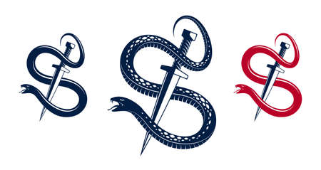 Dagger kills a Snake, defeated Serpent wraps around a sword vector vintage tattoo Vektorgrafik