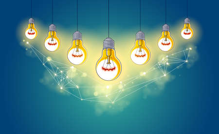 Creative team concept, group of five shining light bulbs represents idea of creative people teamwork having ideas working together, vector illustration.