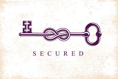 Knotted key allegorical symbol of keep secret, vintage antique turnkey in a knot, defense and security concept, password personal data protection, vector .