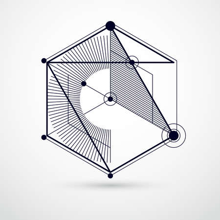 Technical blueprint, vector black and white digital background with geometric design elements, cubes. Engineering technological wallpaper made with honeycombs. Illustration