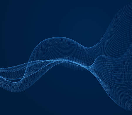 Flowing particles wave over dark background, dynamic sound motion curve lines. 3d vector illustration. Beautiful wave shaped array of shining blended points.