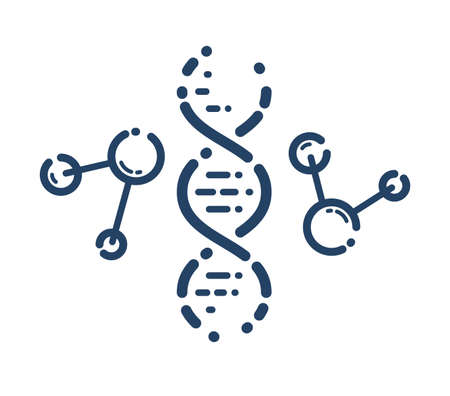 DNA strand vector simple linear icon, science biology and biotechnology line art symbol, genetic research and solutions.