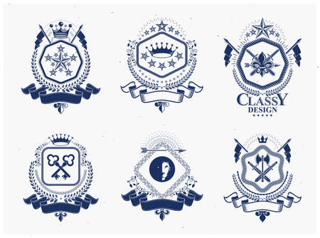 Retro vintage Insignias. Vector design elements. Coat of Arms collection, vector set.