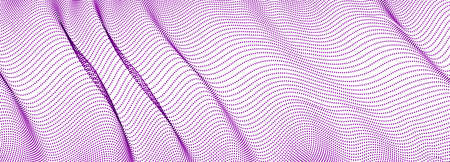 Dynamic wave transparent tulle textile on wind, particles flow, effect in motion. Vector abstract background. 3d shape dots blended mesh, relaxing calming wallpaper.