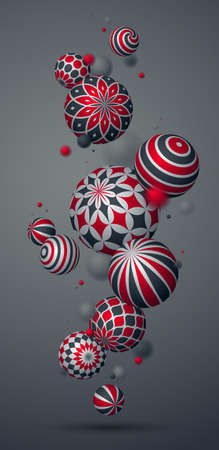 Realistic decorated spheres vector illustration, phone abstract background with beautiful balls with patterns smartphone wallpaper, 3D globes design concept art. Ilustración de vector