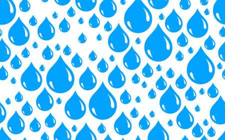 Water drops seamless vector wallpaper, raindrops endless pattern background, weather theme picture. Иллюстрация