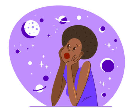 Young African ethnicity woman relaxed dreamy in a space of her mind concept vector flat illustration isolated.