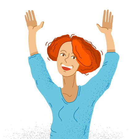 Young adorable happy woman raised hands up hello I am here vector illustration isolated, smiling girl shows gesture to attract an attention.