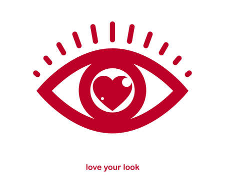 You look great concept cheerful greeting vector design element, compliment stylish retro design created with heart and eye, creative icon , dating valentine day theme.