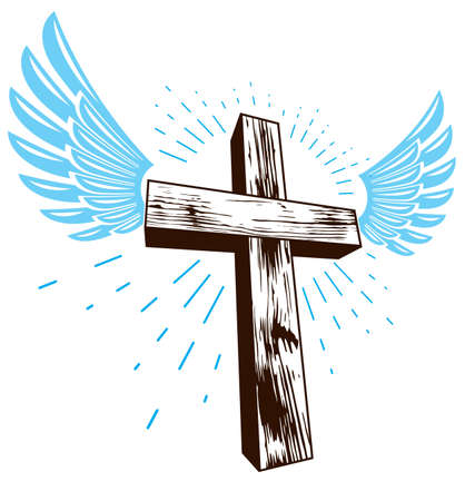 Winged Christian cross vector religion or tattoo.
