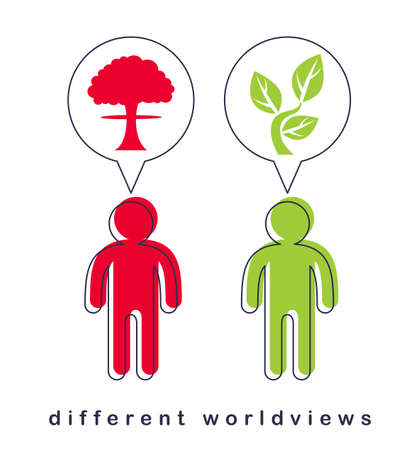 Different worldviews concept with two men good and bad displaying their minds with bomb exploding and small plant growing vector, life and death, destructive and constructive.