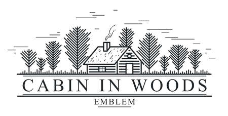 Cabin in woods pine forest linear vector nature emblem isolated on white, log cabin cottage for rest, holidays and vacations theme line art , beauty in nature, woodhouse resort. Ilustrace