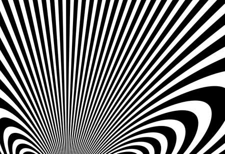 Abstract op art black and white lines in hyper 3D perspective vector abstract background, artistic illustration psychedelic linear pattern, hypnotic optical illusion. Vettoriali