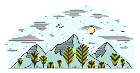 Mountain peaks and pine forest line art vector illustration isolated on white, linear illustration of mountains range in woods wild nature landscape, outdoor hiking camping ant travel theme.