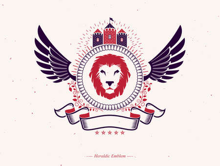Vector illustration of old style heraldic emblem made with wild lion illustration and medieval tower Illustration