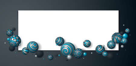 Abstract spheres vector background with blank paper sheet, composition of flying balls decorated with patterns, 3D mixed variety realistic globes with ornaments, depth of field effect.