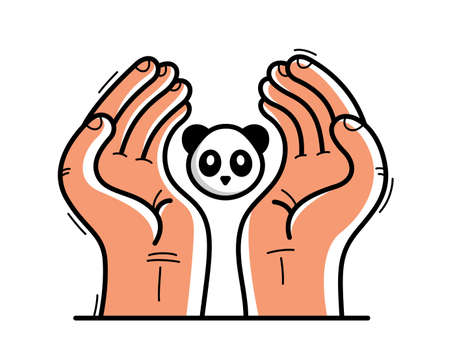 Two hands with panda bear protecting and showing care vector flat style illustration isolated on white, cherish and defense for wild animals concept, wildlife species protection.