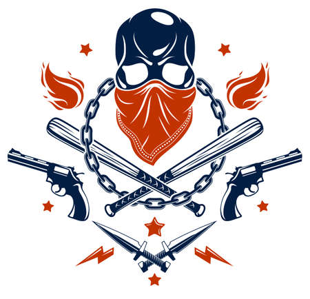 Gang brutal criminal emblem or logo with aggressive skull baseball bats and other weapons and design elements, vector anarchy crime terror retro style, ghetto revolutionary. Ilustrace