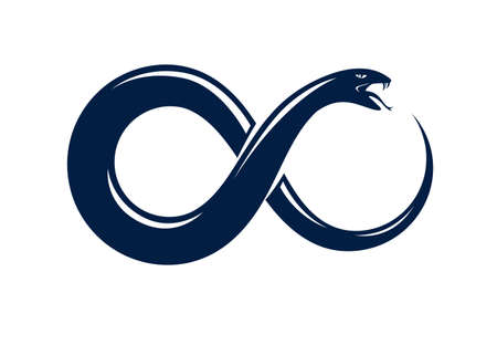 Ouroboros Snake in a shape of infinity symbol, endless cycle of life and death, ancient Uroboros symbol vector illustration, Serpent eating its own tale, logo, emblem or tattoo.