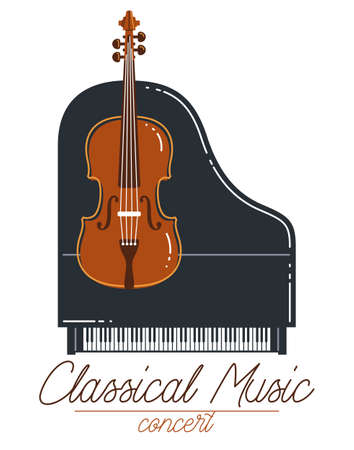 Classical music emblem or logo vector flat style illustration isolated, grand piano andcello logotype for recording label or festival or musical orchestra. Çizim