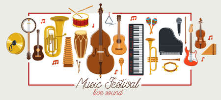 Music orchestra diverse instruments vector flat poster, live sound concert or festival, musical band or orchestra playing and singing songs advertising flyer or banner.