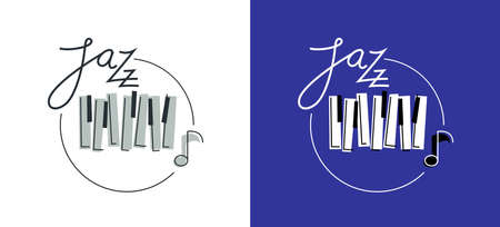 Jazz music emblem or logo vector flat style illustration isolated, grand piano logotype for recording label or studio or musical band.
