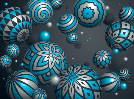 Realistic decorated spheres vector illustration, abstract background with beautiful balls with patterns and depth of field effect, 3D globes design concept art. 向量圖像