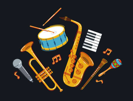 Jazz music band concept different instruments vector flat illustration on dark background, live sound festival or concert, musician different instruments set. Çizim