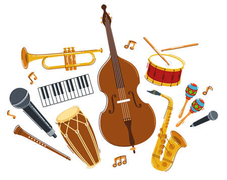 Jazz music band concept different instruments vector flat illustration isolated on white background, live sound festival or concert, musician different instruments set.