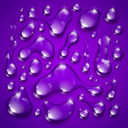 Water drops set vector realistic 3d elements collection, transparent dew condensation drops over transparency checker mesh, prepared to put over violet background.