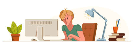 Young man office worker pensive concentrated on her work vector flat illustration isolated, serious attentive worker seriously thinking on a project, comfortable workplace.
