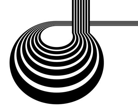 3D black and white lines in perspective with abstract vector background, linear perspective illustration op art. Vektorové ilustrace